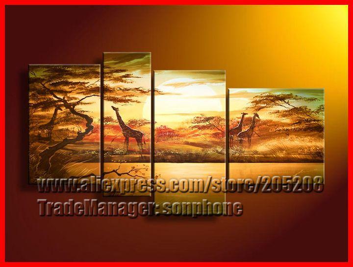 Framed 4 Panel Large African Contemporary Oil Paintings Giraffe Sunset Landscape Canvas Art XD01275(Hong Kong)