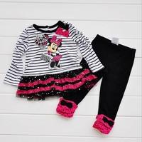 Fashion minnie clothing sets kids cartoon long-sleeve tshirt + trousers sets girls clothes baby wear garment