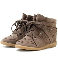 Isabel Marant Original Lace-Up Sneakers,Genuine Suede Apricot,Size 35~41,Dense-tooth Soles,Heel 7cm,Drop Shipping/Free Shipping