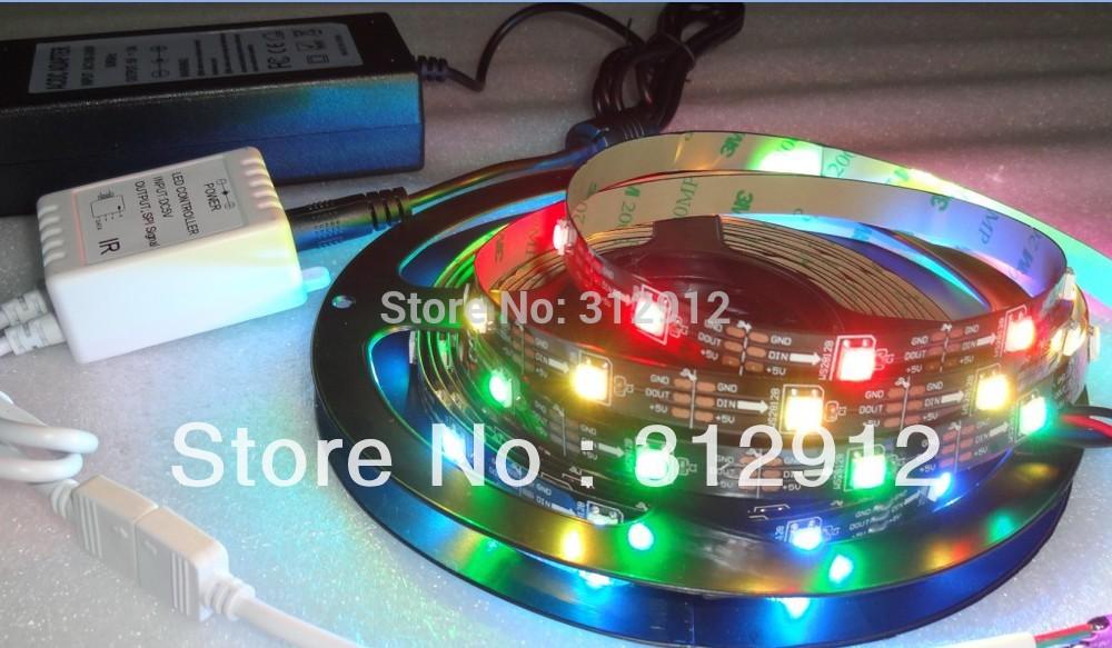 5m DC5V WS2812B 30leds/m IP33 BLACK PCB strip+24key IR pixel controller+5V/7A power adaptor(China (Mainland))