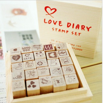 Diy photo album photo album corner posts handmade cute diary decoration stamp 25 set - love(China (Mainland))