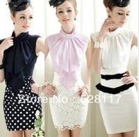 Free Shipping High Quality Pink Doll Fashion Bowknot Decorated Sleeveless Pure Color Blouse  Fast delivery+Cheaper Price