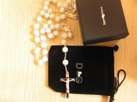 beckham rosary necklace silver chains with cross pendant white black beads agate bead necklaces pendants