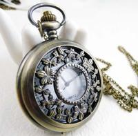 Large bush-rope flower pocket watch necklace vintage accessories fashion pocket watch necklace