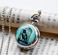 Enamel pocket watch necklace vintage accessories fashion table necklace pocket watch