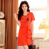 plus size 3xl bust chest 116cm 110cm summer OL outfit slim ruffle short-sleeve dress plus size dress