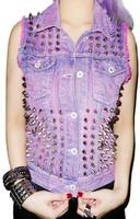 PUNK  ! handmade ! lilac ! lavender ! rivet denim vest