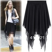 Free shipping new arrive! UK Style Irregular chiffon skirt long skirt corners Chiffon skirt