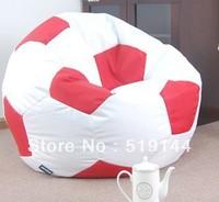 Free shipping ball bean bag chair, sports beanbag cushion, football beanbags, soccer ball bean bags - red / white