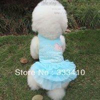 Sparkling diamond love dog puff tutu dress pet vest teddy clothes summer dog clothes pink/light blue/yellow free shipping
