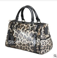 2013 hot sale fashion leopard pattern handbag genuine leather tote brand elegant bags for women free shipping gift
