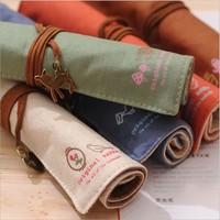 LZ free shipping Korea stationery mori vintage hemp roll pencil case pen curtain storage bag
