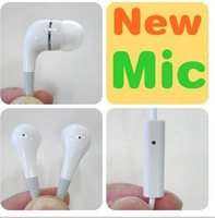 Earphone With Mic For Apple IPhone 5  / 4 4S 3GS IPod Stereo Handsfree In-Ear Headphone Microphone ,100pcs/lot,fast shipping