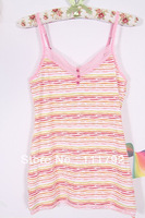 Free shipping 2013 summer female lace sexy deep V-neck striped camisole vest 100% foreign modal kind shooting