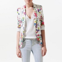 2014 New Arrival Europe and America tops for women flower print outerwear vintage jacket coat blazer T0017 free shipping