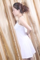Free shipping 2013 sexy big yards female strap nightgown pajamas soft and loose strap deep V-neck dress dress 100% real shooting
