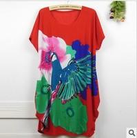 Trade large size dress new summer hot drilling parrot flower bamboo women's T-shirt short-sleeved sweatshirts