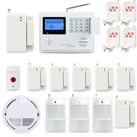 P34 5800G Wireless GSM TEXT SMS Telephone Phone Landline ADSL Home Intruder Burglar Alarm System + Smoke Sensor + Panic Button