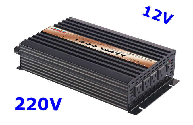 1500W Power Inverter Pure Sine Wave DC 12V AC 220V solar/wind/car/battery invertor(China (Mainland))