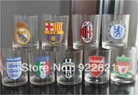New Arrival Free shipping football fan tmbler&beer glass with barca ac milan juvetuns chelsea italy team logo,football souvenirs