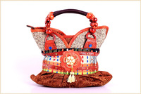 Handicrafted Indian Vintage Tote Bags Women Designer Handbags Multi-colored Linen Wooden Beaded Handle Tassel Festival Gift