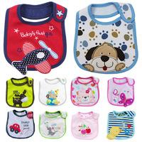Free shipping,Hot sale,10pcs/lot,Cotton baby bibs, three waterproof bibs,color random