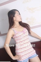 Free shipping Summer fashion women sexy V-neck Modal Camisole Camisole foreign lace stripe printed 100% real shooting