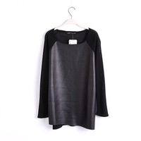 2014 ZA** Fahsion women pu leather knit black patchwork long sleeve shirts and tops,S,M,L Size