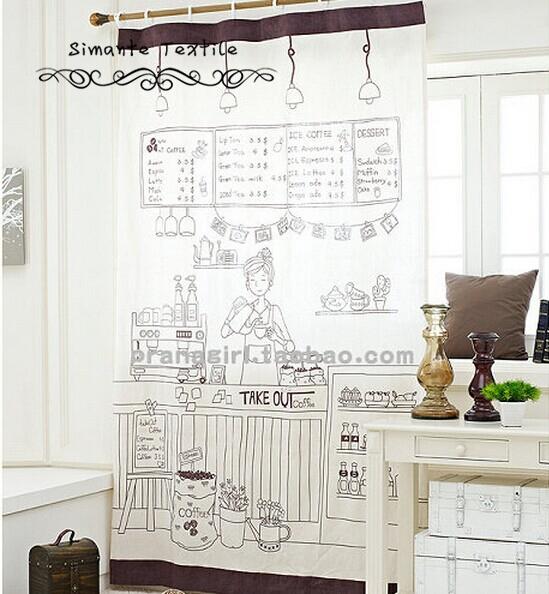 Cartoon 100% cotton door curtain kitchen curtain free shipping