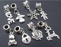 Wholesale 200 PCS  Antiques Silver  Mixed  Plum Flower Deer & Angels  Charms Pendants  Fits Bracelets  DIY  Making Jewelry M1972