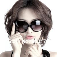 A is $12(mix order) free shipping cheap fashion vintage plate big black round anti-uv women's sunglasses