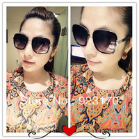 Free shipping  2013 classic vintage fashion big box sun glasses women's black sunglasses