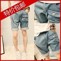 free shipping 2013 t personality male denim shorts all-match men's denim shorts male