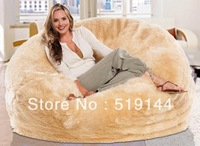 Free shipping couple fur cream lounger beanbag, round bean bag cushion bed and sac, indoor longer