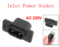 AC 220V C8 2 Pin Male Electric Inlet Power Socket Connector Black 50pcs