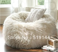 Free shipping oversized bean bags,long fur white beanbag lounger,Soft and stylish UltraFur bean bag