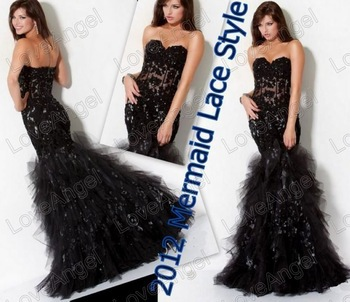 Vintage Prom Gown Wholesale/Free Shipping Sweetheart Black Lace Long Mermaid Evening Dress 2012 New Halloween Costumes(China (Mainland))