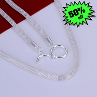 Wholesale High Quality Fashion Jewelry Necklace 925 Silver Necklace Free Shipping Web Necklace N087