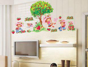 Cheap Cute Cartoon Girl Tree Wall Sticker Home Docor For