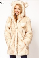 wholesale HDY Double cap ear ball double color long Faux fur coat