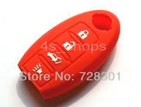 Red Silicone Key Case Cover Holder Protecting Bag Fit For Nissan Altima Maxima Sentra Smart Key With 4 Buttons  Free Shipping