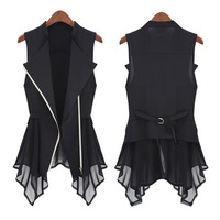 2013 chiffon vest spring women's slim outerwear vest long design fashion sleeveless waistcoat