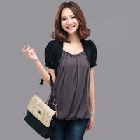 Free Shipping 2014 Women  faux two piece loose  Fashion short-sleeve T-shirts, new arrival plus size Tops M L XL XXL XXXL XXXXL