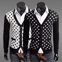 Free Shipping Hot Men's Cardigan,Men's Fashion Vest,Mens Clothing Slim Cardigan V-neck Male Sweater Color:Black,White Size:M-XXL