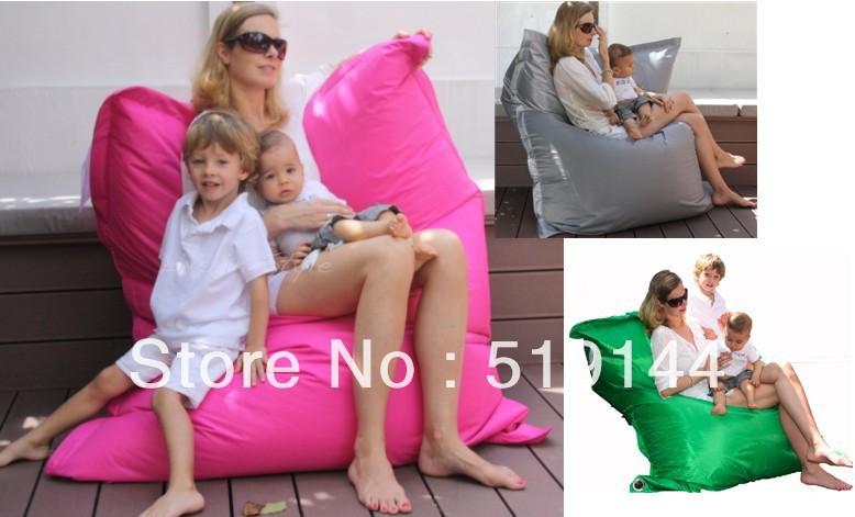 Grátis frete adulto poliéster impermeável pufe de jogos para uso indoor e outdoor 3 lugares saco de feijão gigante sentado cadeira(China (Mainland))