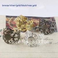 Free ship!!! 8mm flower shape ring base/setting/black/silver/gold/rose gold/bronze