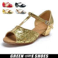 Child t gold paillette Latin dance shoes adult women's flat heel gold Latin dance shoes