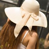 Sunbonnet women's beach hat straw braid big summer sun hat millinery cap linen bandeaus
