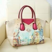 2013 oil painting women's handbag  vintage shoulder handbag messenger bag PU Leather  2 colors free shipping