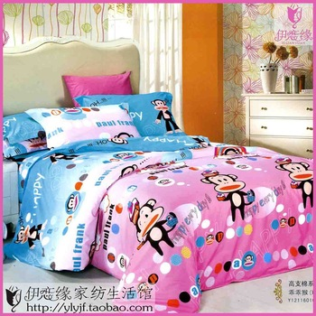 High count cotton customize child side bed round bed bedding cartoon four piece set customize